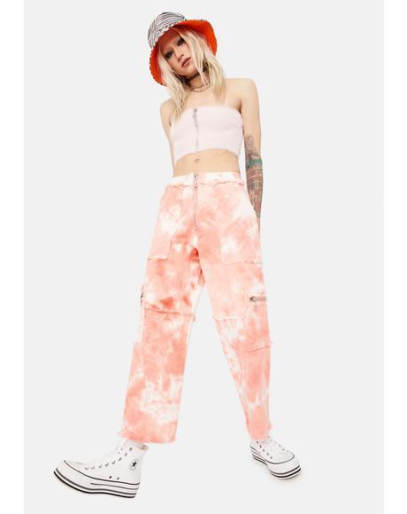 Conscious Tie Dye Denim Cargo Pants