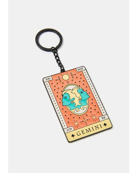 Gentle Gemini Zodiac Keychain