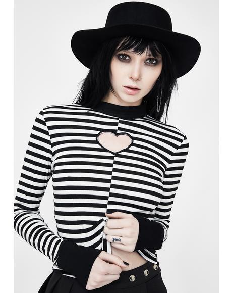 Vertical Collar Love Hollowed Stripe Top