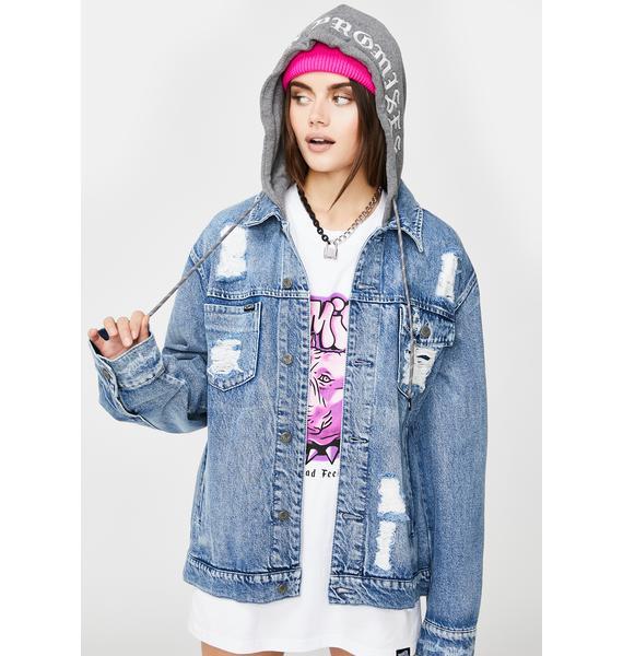 BROKEN PROMISES CO Heartless Denim Hooded Jacket