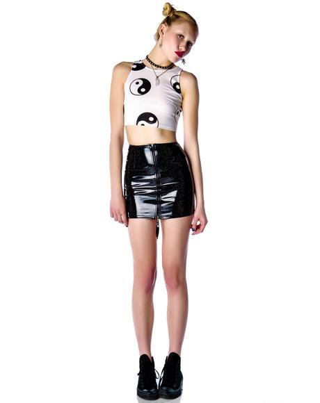 Glitter PVC Hi Waisted Mini Skirt