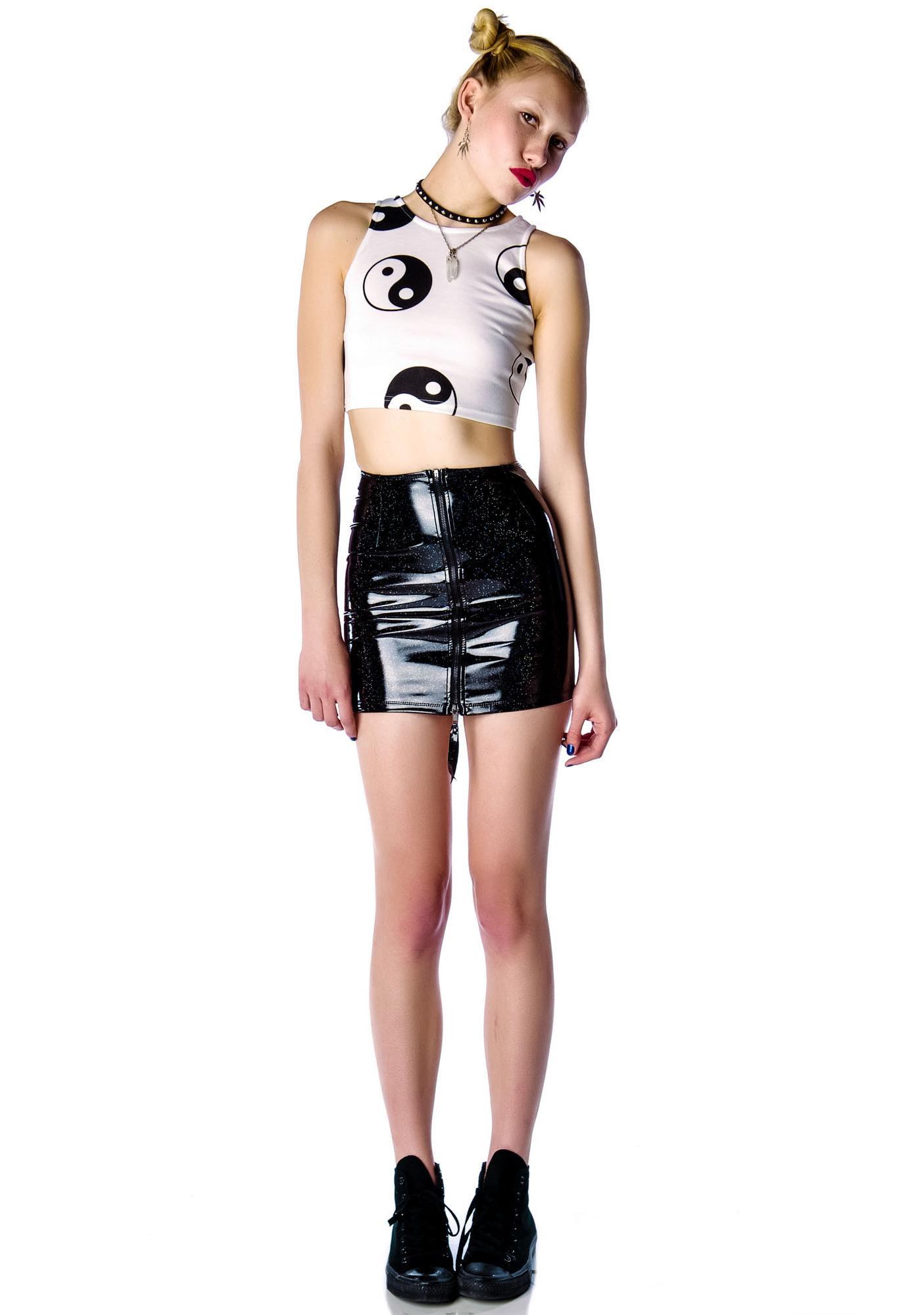 Lip Service Glitter PVC Hi Waisted Mini Skirt
