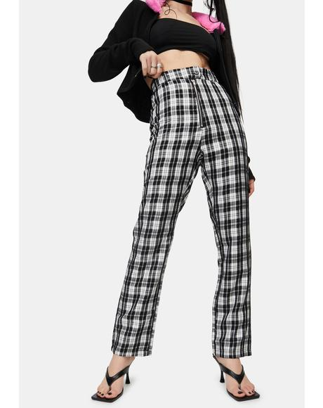 High Waisted Check Pants