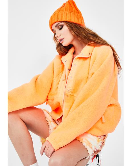 Peach Hit The Slopes Fleece Jacket
