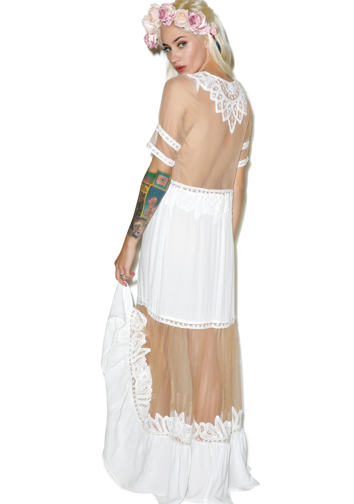 For Love & Lemons Ivory Carmine Maxi Dress
