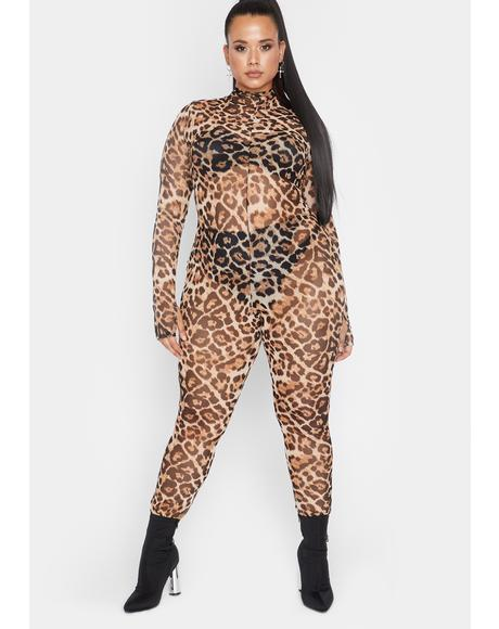 She's The Feisty Type Leopard Catsuit