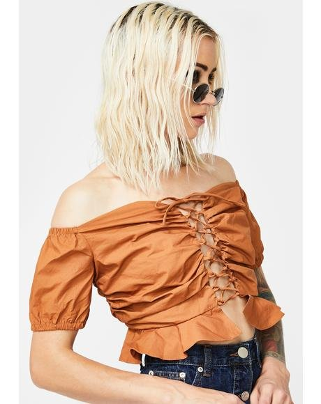 Lace-Up Peplum Crop Top