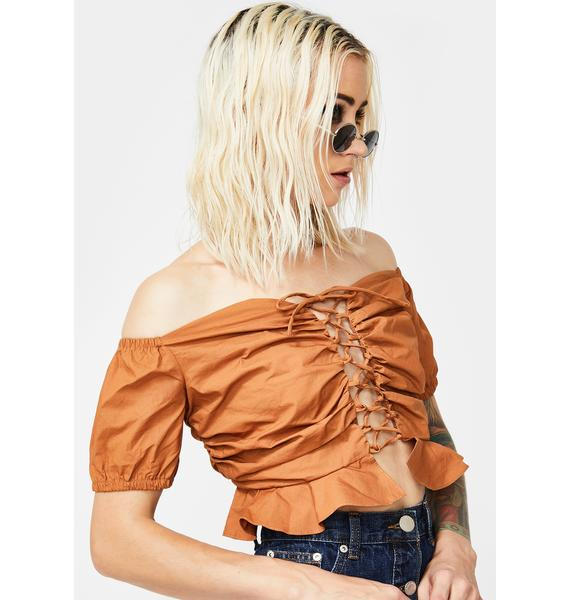 Glamorous Lace-Up Peplum Crop Top