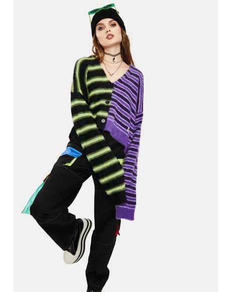 Frat Fuzzy Stripe Cardigan