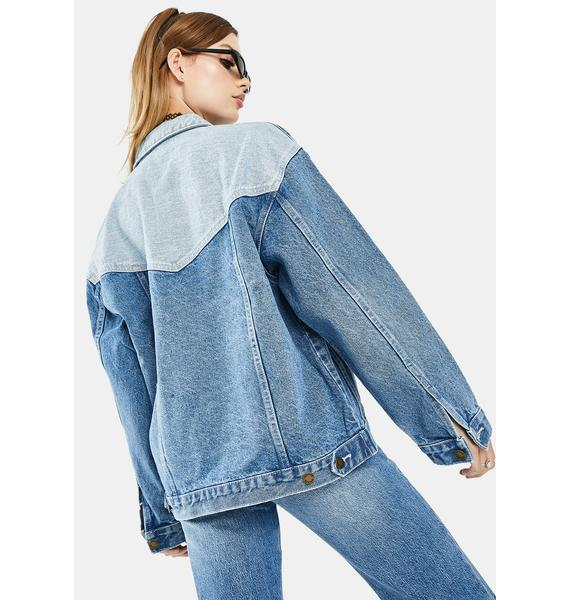 Rollas Tumbled Blue Slouch Jacket