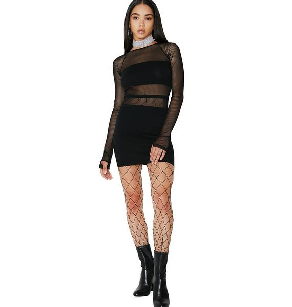 Poster Grl Censored Mesh Mini Dress