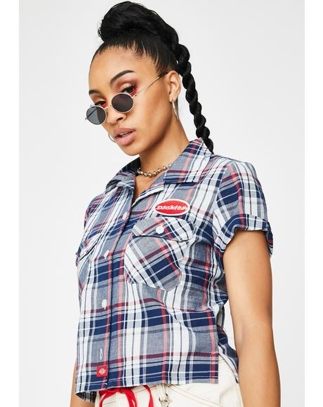 Navy Americana Plaid Work Shirt