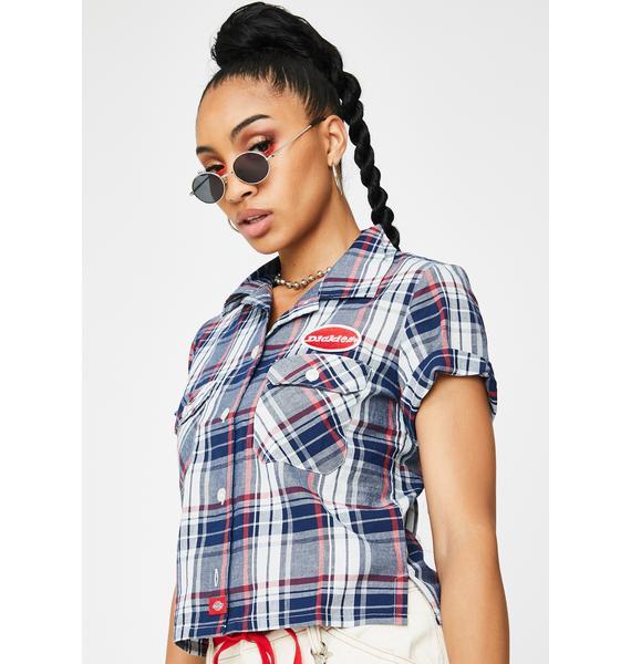 Dickies Girl Navy Americana Plaid Work Shirt