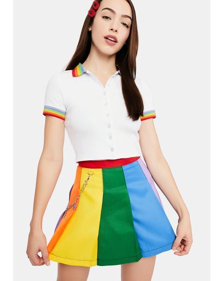 All Is Bright Rainbow Pleated Mini Skirt