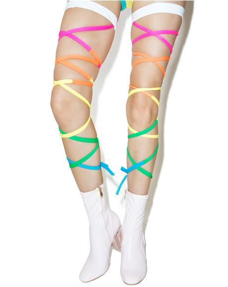 Neon Rainbow Baby Leg Wraps