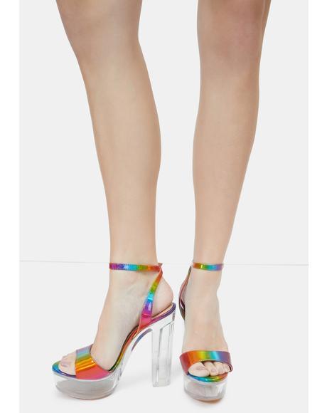 Rainbow Turino Platform Heels