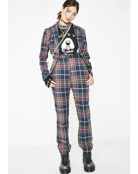 Plaid Habit High Waist Pants