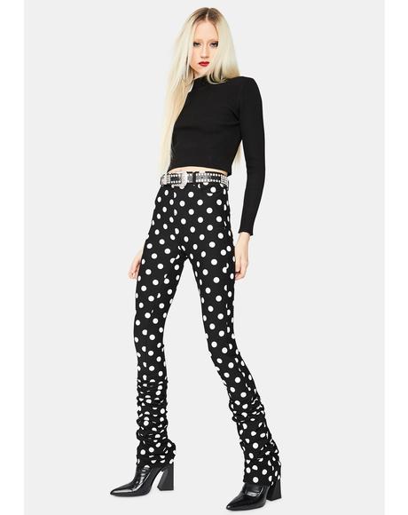 Noir Chic Fantastic Polka Dot High Waisted Ruched Pants