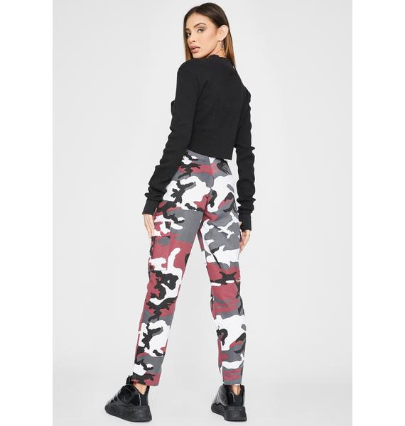 Daisy Street Pink Camo Print Utility Cargo Trousers