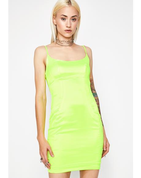 Glowin' Saturday Nite Satin Dress