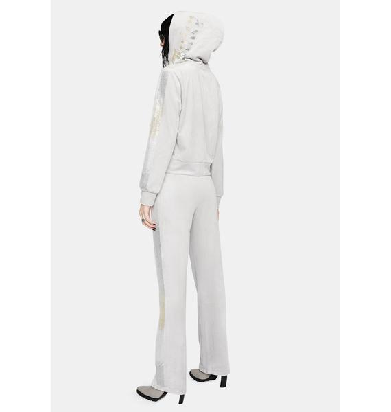 JUICY COUTURE Silver Ice Luxe Velour Sweatpants