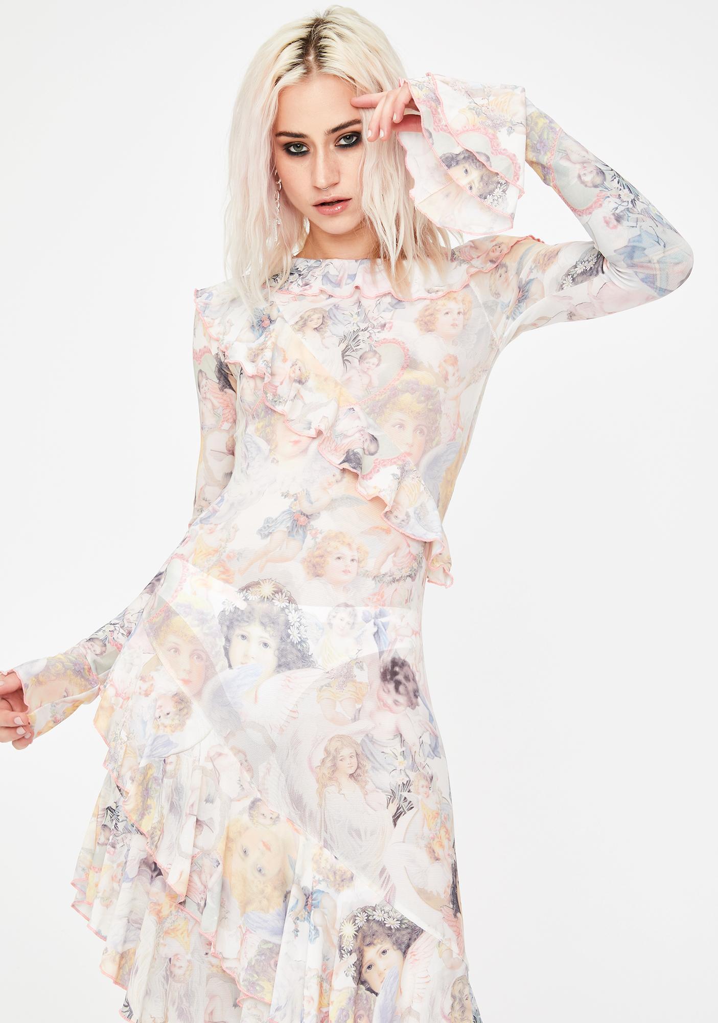 No Dress Angel Print Asymmetrical Hollow Maxi Dress