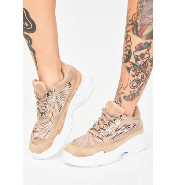 Mocha Trendsetting Mesh Sneakers