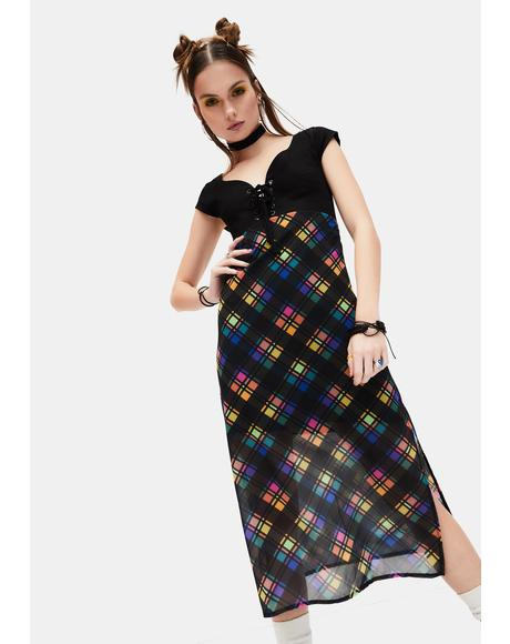 Runaway Bliss Plaid Midi Dress
