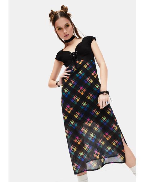 Runaway Bliss Plaid Midi Dress
