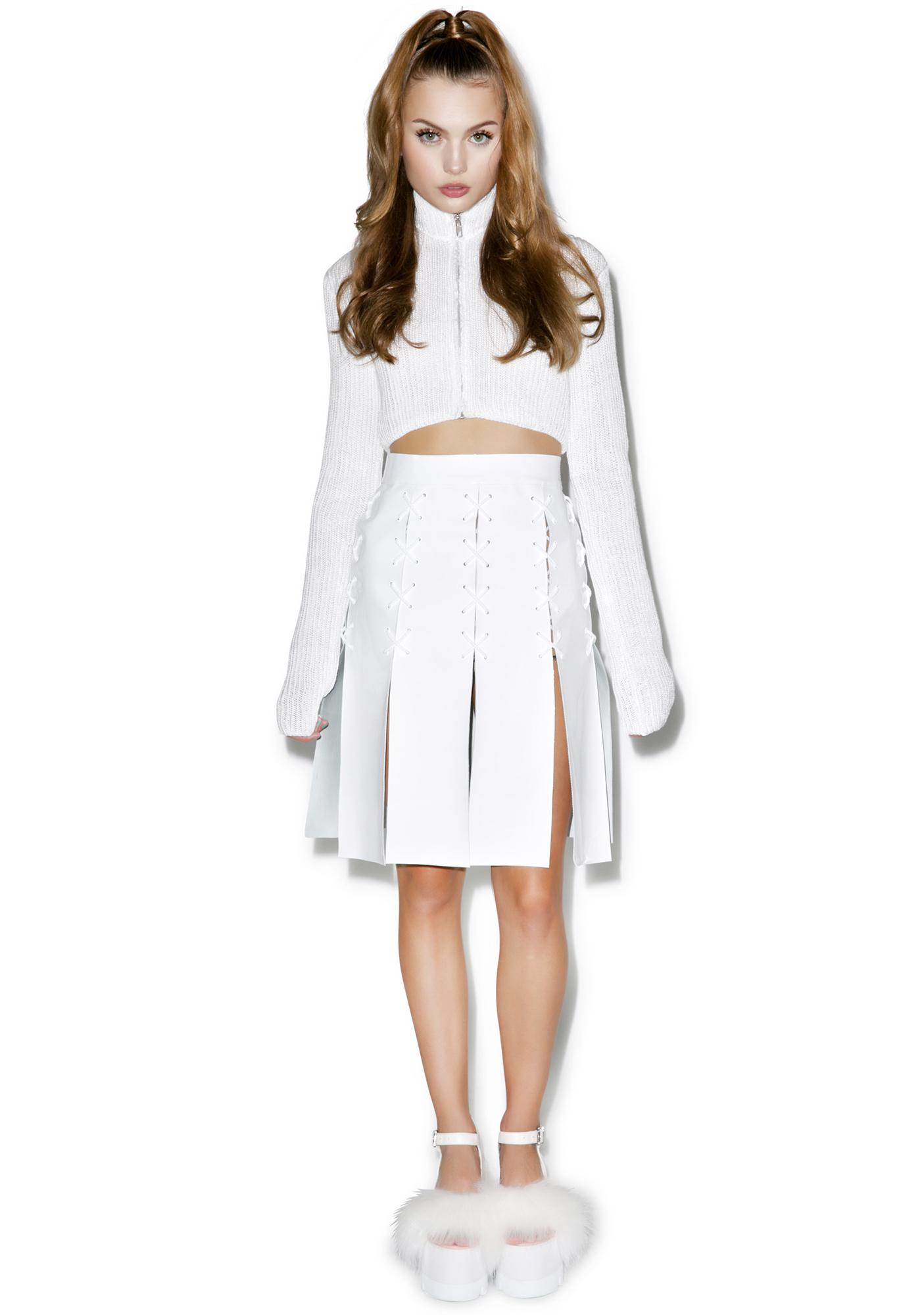 Maria ke Fisherman Cross Eyelet Patent Leather Skirt