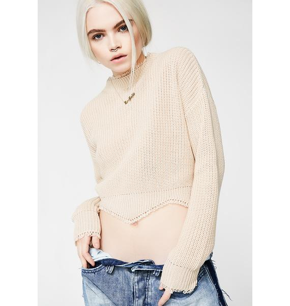 Beige Troubled Thoughts Crop Sweater
