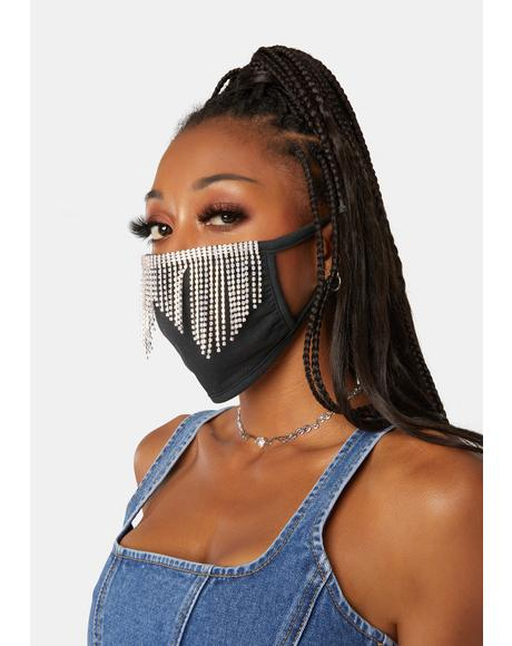 Disco Rhinestone Face Mask