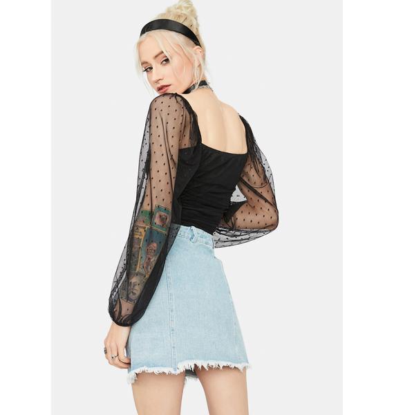 A Lotta Talk Wrap Denim Mini Skirt