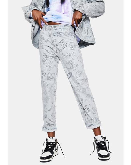 Light Wash Sharpie Denim Jeans