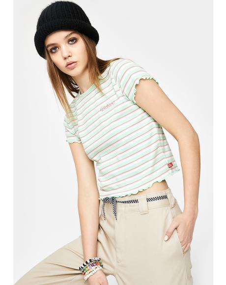 Mint Lettuce Edge Crop Tee