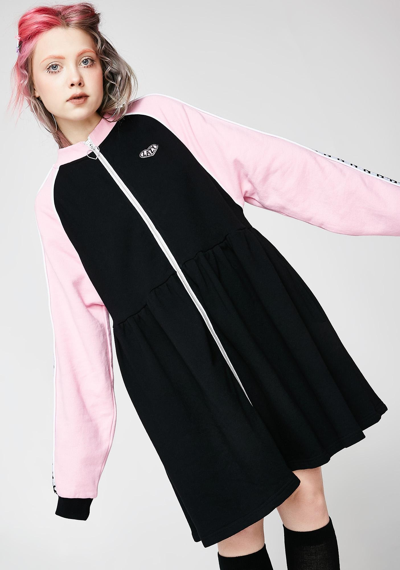 96253e80b2f Lazy Oaf Sports Club Zip Sweater Dress