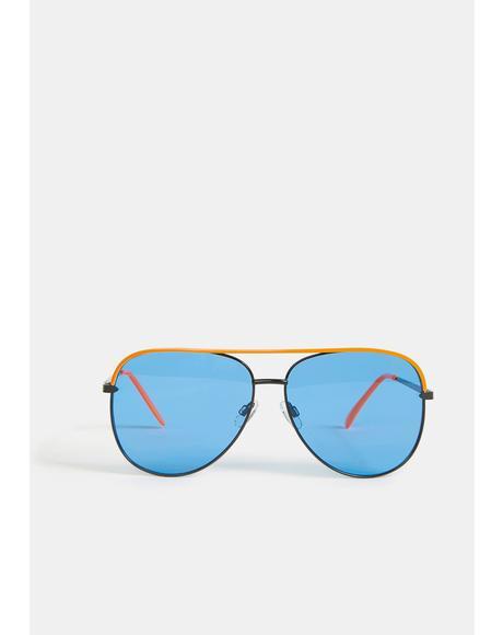 Diggin' The Vibe Aviator Sunglasses
