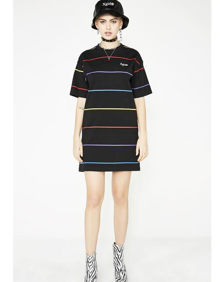 Rainbow Stripe Tee Dress