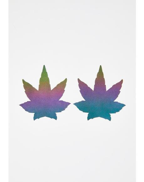 Rainbow Reflective Weed Leaf Pasties