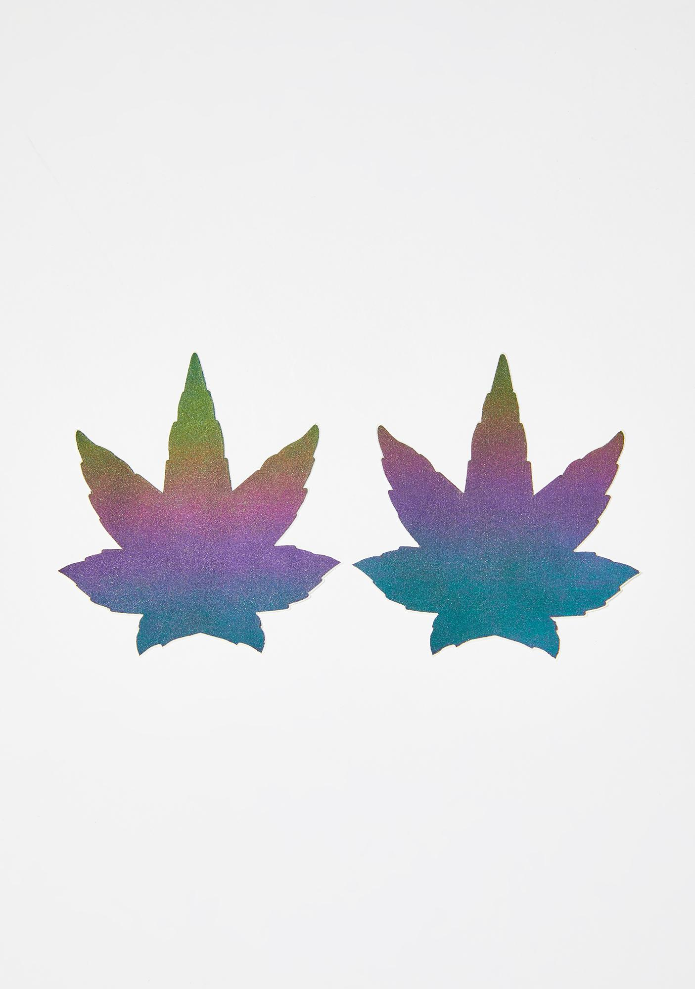 Pastease Rainbow Reflective Weed Leaf Pasties