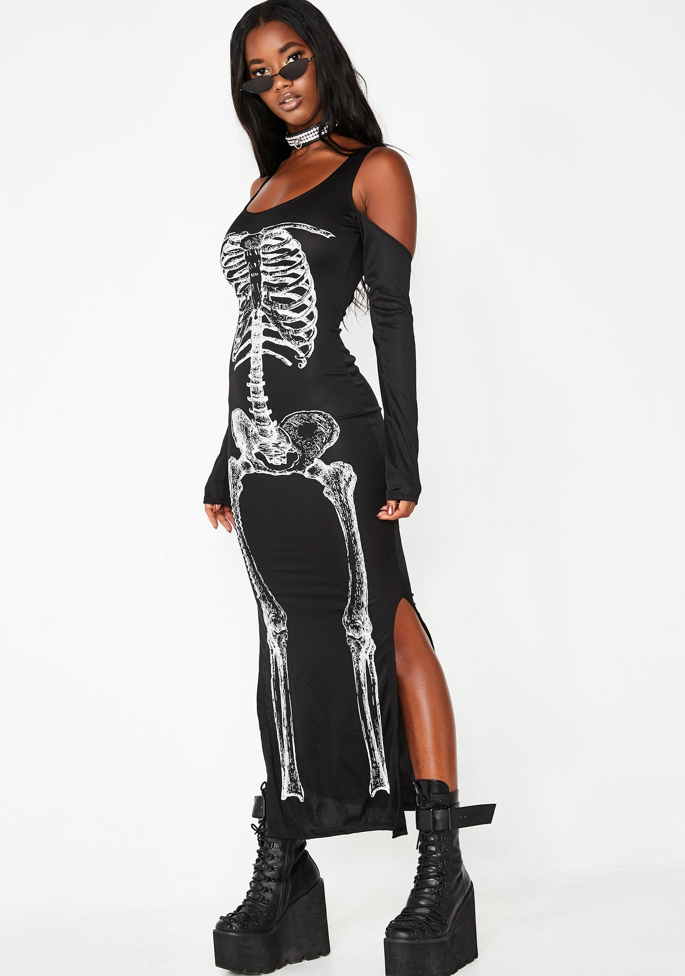 efdc583d2994 Cold Shoulder Skeleton Maxi Dress | Dolls Kill