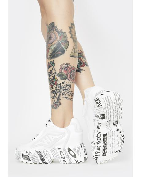 Newsprint Blackberry Platform Sneakers