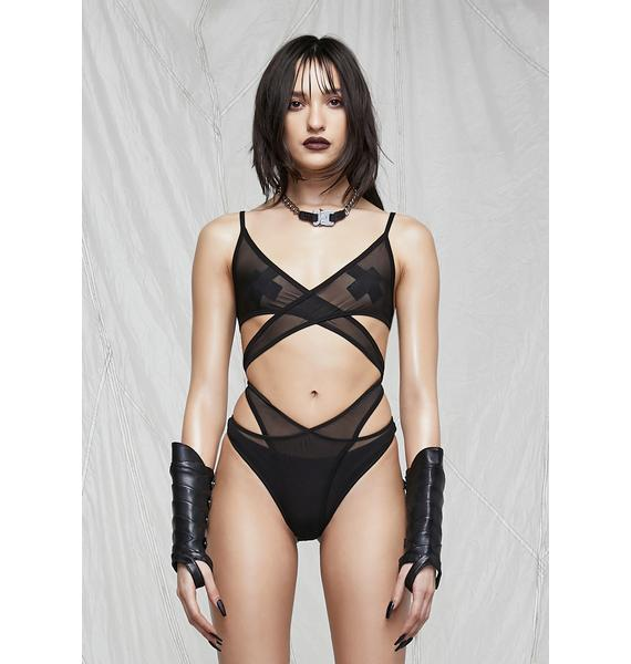 DARKER WAVS Synth Cutout Mesh Wrap Bodysuit
