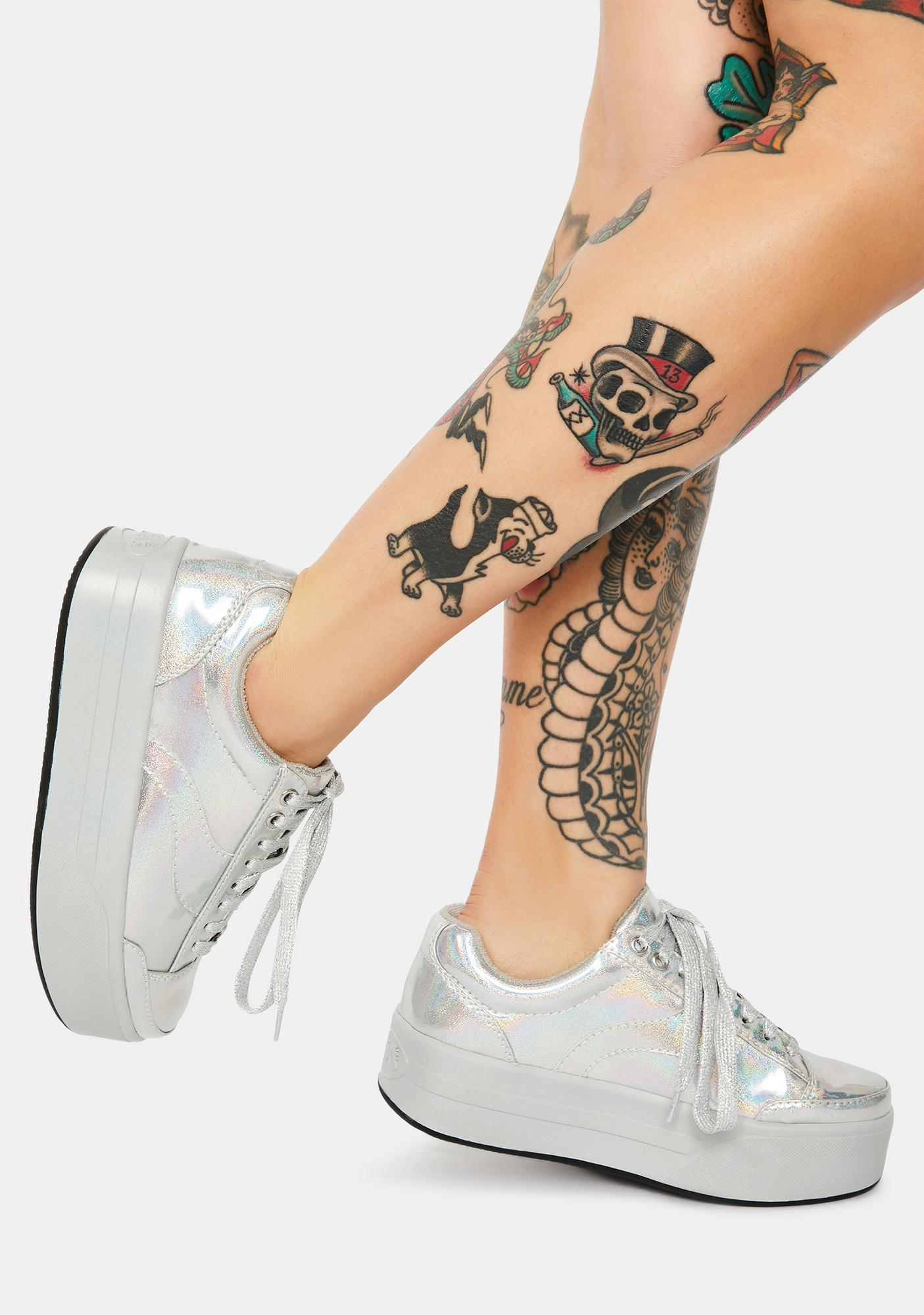dELiA*s by Dolls Kill Reindeer Games Holographic Platform Sneakers