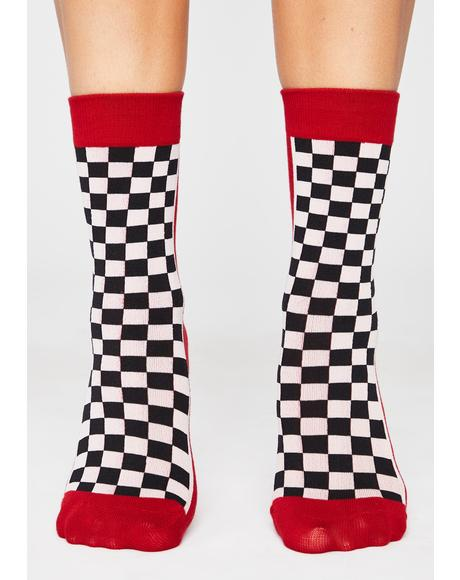 Wanna Race Checkered Crew Socks