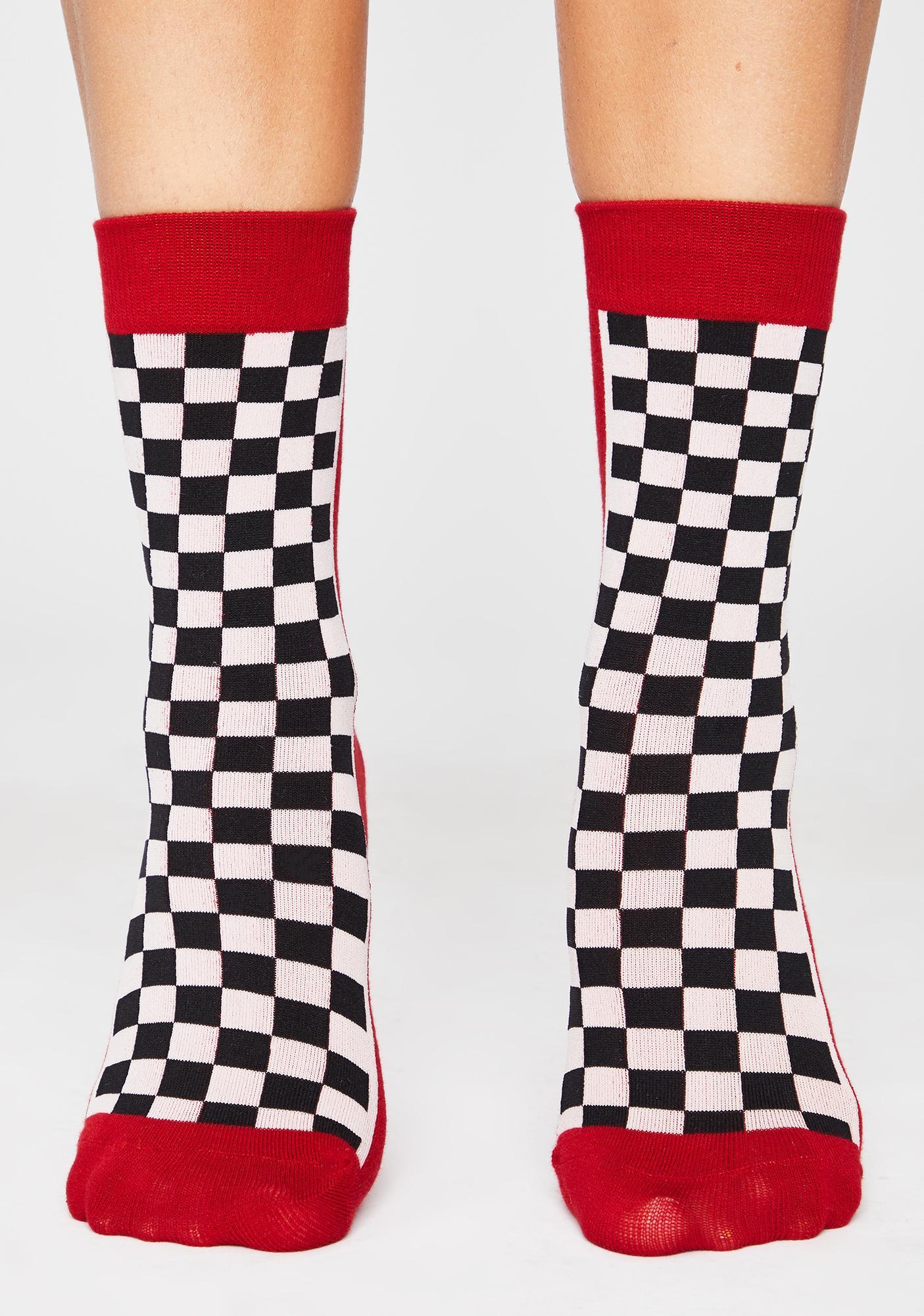 Wanna Race Checkered Crew Socks