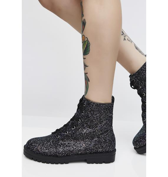 Midnight Sparkle All Over Combat Boots