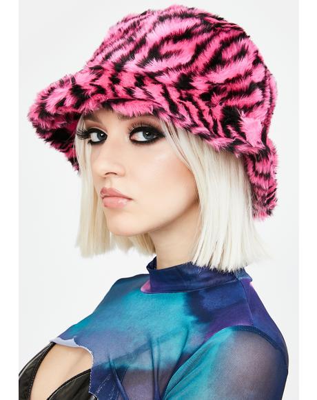 Pink Zebra Print Bucket Hat
