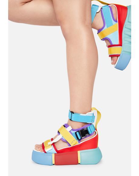 Rainbow Cranberry Platform Sandals
