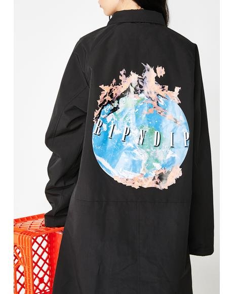 World On Fire Trench Coat